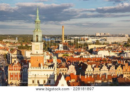 Poznan, Poland - August 30, 2016: View At Sunset From Tower On Town Hall, Old And Modern Buildings I