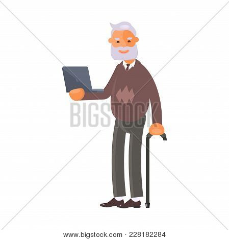 Healthy Active Lifestyle Retiree For Grandparents. Old Man Character With Laptop.  Grandfather Isola