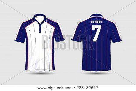 White, Blue And Red Lines Layout Football Sport T-shirt, Kits, Jersey, Shirt  Design Template.