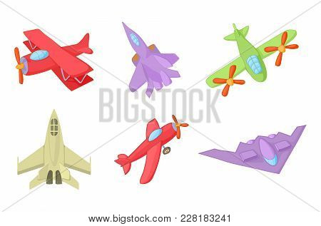 Plane Icon Set. Cartoon Set Of Plane Vector Icons For Web Design Isolated On White Background