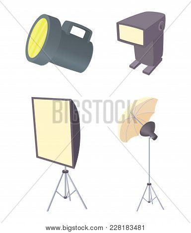 Flash Light Icon Set. Cartoon Set Of Flash Light Vector Icons For Web Design Isolated On White Backg