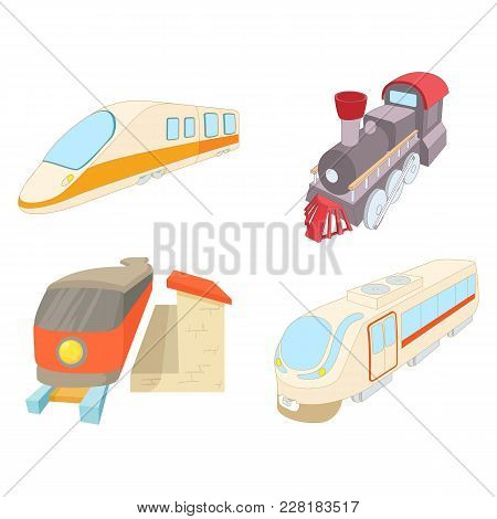 Train Icon Set. Cartoon Set Of Train Vector Icons For Web Design Isolated On White Background