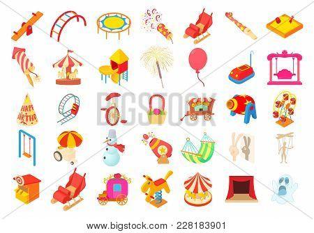 Kid Amusement Icon Set. Cartoon Set Of Kid Amusement Vector Icons For Web Design Isolated On White B