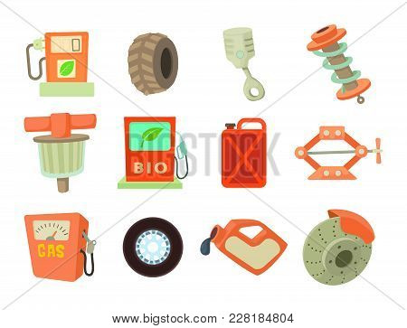 Car Tools Icon Set. Cartoon Set Of Car Tools Vector Icons For Web Design Isolated On White Backgroun