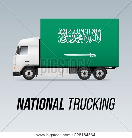 Symbol Of National Delivery Truck With Flag Of Saudi Arabia. National Trucking Icon And Flag Design