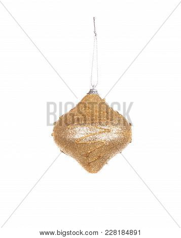 Goldish Christmas Decorations. Isolated On The White Background.