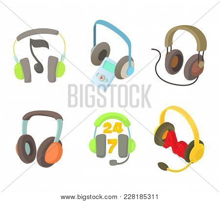 Headset Icon Set. Cartoon Set Of Headset Vector Icons For Web Design Isolated On White Background