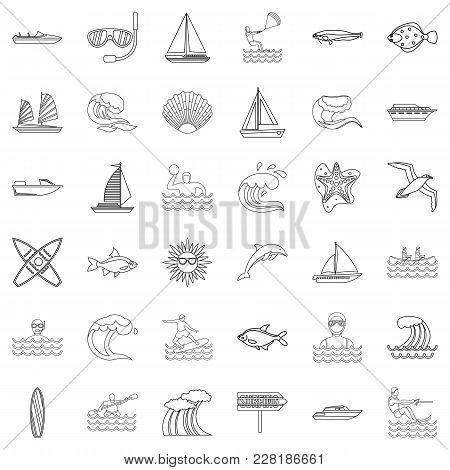 Tap Water Icons Set. Outline Set Of 36 Tap Water Vector Icons For Web Isolated On White Background
