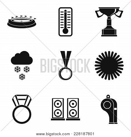 Sport Stadium Icons Set. Simple Set Of 9 Sport Stadium Vector Icons For Web Isolated On White Backgr