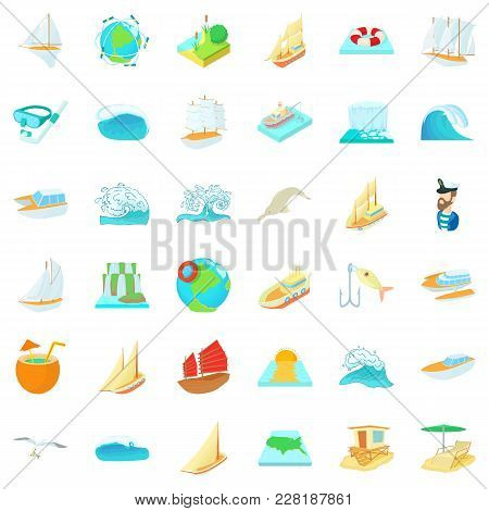 Saline Water Icons Set. Cartoon Set Of 36 Saline Water Vector Icons For Web Isolated On White Backgr