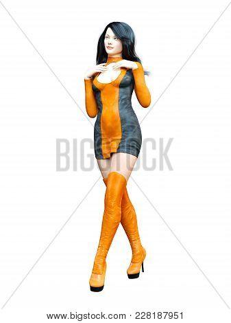 3d Beautiful Woman Orange Black Leather Dress Long High Boots. Conceptual Fashion Art. Seductive Can