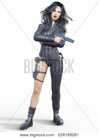 Young Beautiful Woman Warrior From Future. Protective Black Armor Leather Jumpsuit. Pistol In Hand.