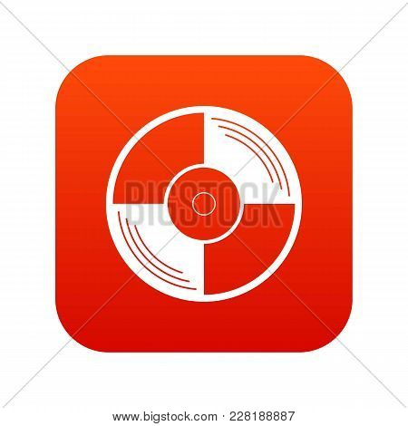 Vinyl Record Icon Digital Red For Any Design Isolated On White Vector Illustration