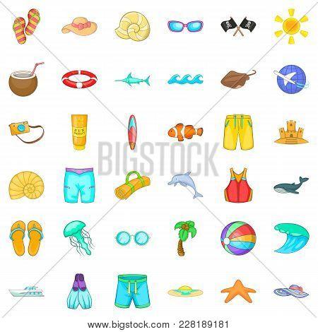 Aquatory Icons Set. Cartoon Set Of 36 Aquatory Vector Icons For Web Isolated On White Background