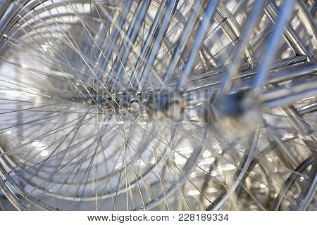 Buenos Aires, Argentina - January 20, 2018: Forever Bicycles Sculpture In La Boca, Buenos Aires, Arg