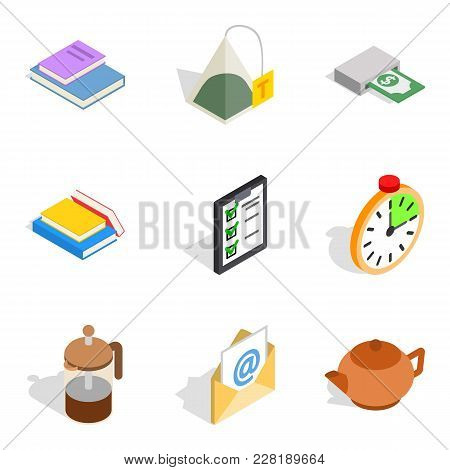 Begin Work Icons Set. Isometric Set Of 9 Begin Work Vector Icons For Web Isolated On White Backgroun