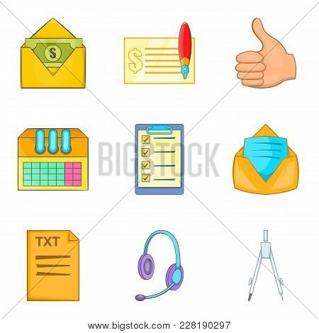 Office Supplies Icons Set. Cartoon Set Of 9 Office Supplies Vector Icons For Web Isolated On White B