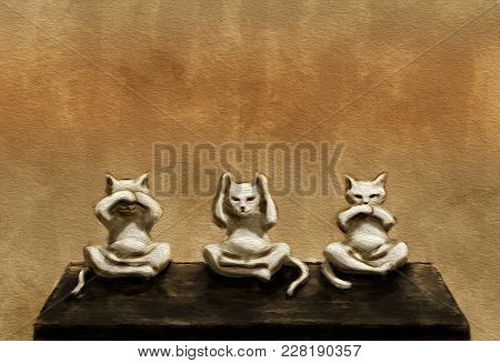 Three Wise Cats. Brown Background. Digital Art.