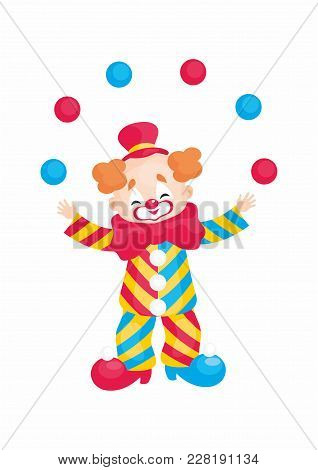 Vector Image Of A Circus Clown In Cartoon Style. Colorful Illustrations Isolated On White Background