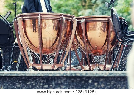 Timpani On Stage. Timpani Are Musical Instruments In The Percussion Family. A Type Of Drum, They Con