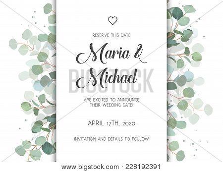 Wedding Eucalyptus Vertical Vector Design Banner Frame. Rustic Greenery Invitation Card. Mint, Blue