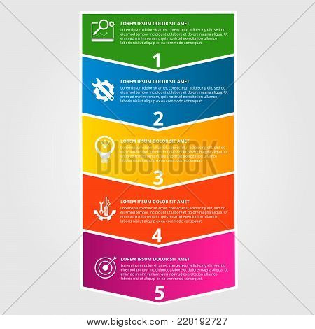 Modern Vector Illustration. Infographic Template With Five Elements, Arrows Of The Rectangle And Per