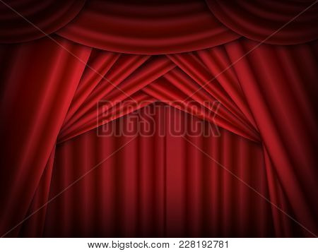 Vector Red Stage Curtains Open. Red Drapes Reflected. Vector Design.