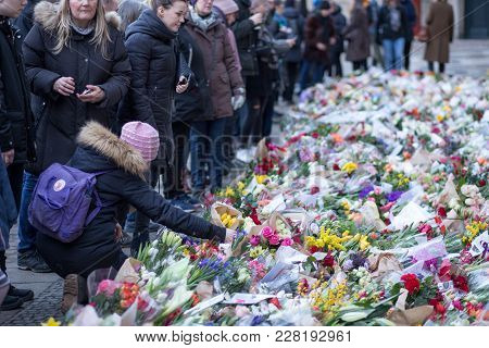 Copenhagen, Denmark - February 17, 2108: People Pay Their Respect With Flowers At Amalienborg Palace