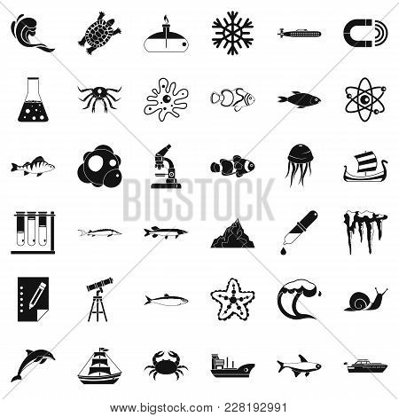 Navy Department Icons Set. Simple Set Of 36 Navy Department Vector Icons For Web Isolated On White B