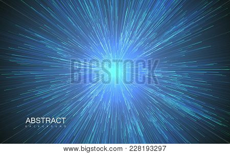 Shiny Radial Burst With Linear Particles. Vector Absrtact Illustration Of Big Bang. Background With