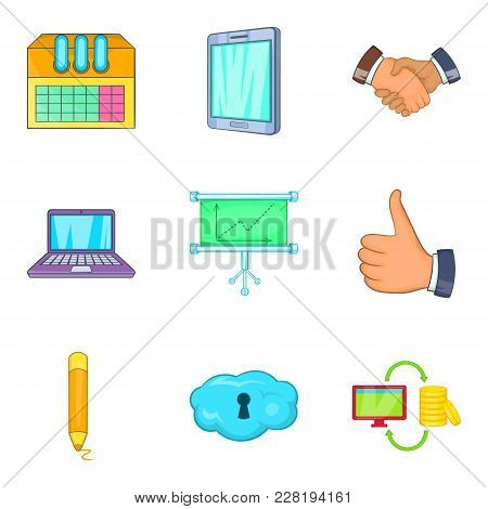 Job Strategy Icons Set. Cartoon Set Of 9 Job Strategy Vector Icons For Web Isolated On White Backgro