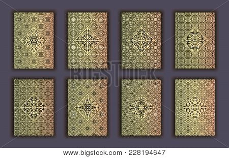 Card Set With Mosaic Lace Decorative Elements Background. Asian Indian Oriental Ornate Banners