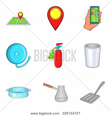 Yard Icons Set. Cartoon Set Of 9 Yard Vector Icons For Web Isolated On White Background