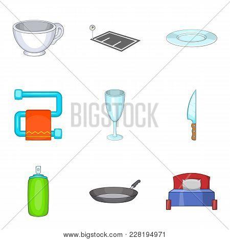 Shelter Icons Set. Cartoon Set Of 9 Shelter Vector Icons For Web Isolated On White Background