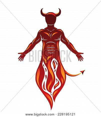 Vector Human Being Standing In Flame. Mystic Infernal Horned Satan, Evil Spirit.