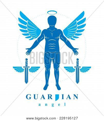 Vector individual, mystic character created with angel wings and halo. Seraph, belief in God is free as bird. poster