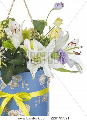 Delicate Fragile Bouquet Of Flowers Of White Lilies, Chrysanthemums, Eustomams In Blue Round Box Wit