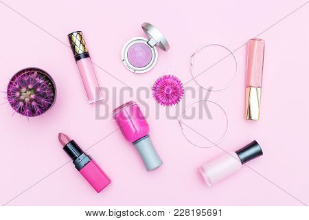 Pink Cosmetics On A Pink Background And A Pink Cactus. Monochrome Color