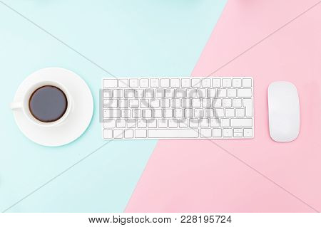 Keyboard And Mouse On Two Tone Pastel Background. Cofee Break