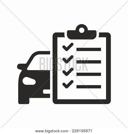 Car Maintenance List. Vector Icon Isolated On White Background.