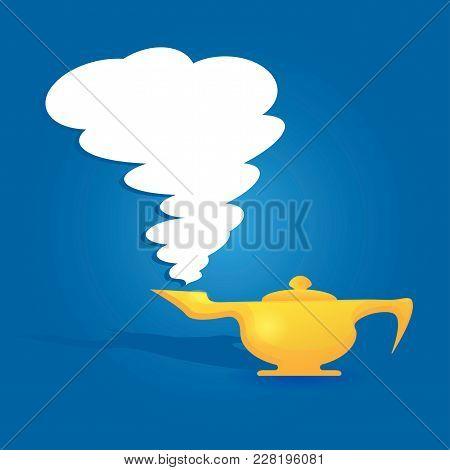 Aladin Lamp On A Blue Background, Flat Image