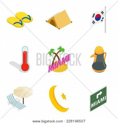 Hotel Sector Icons Set. Isometric Set Of 9 Hotel Sector Vector Icons For Web Isolated On White Backg