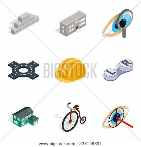 Urbanized Icons Set. Isometric Set Of 9 Urbanized Vector Icons For Web Isolated On White Background