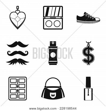 Master Of Style Icons Set. Simple Set Of 9 Master Of Style Vector Icons For Web Isolated On White Ba
