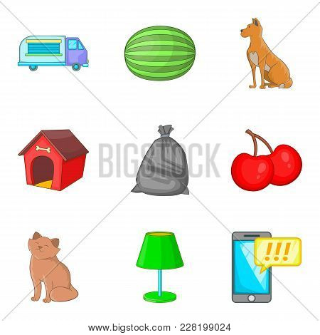 Suburban House Icons Set. Cartoon Set Of 9 Suburban House Vector Icons For Web Isolated On White Bac