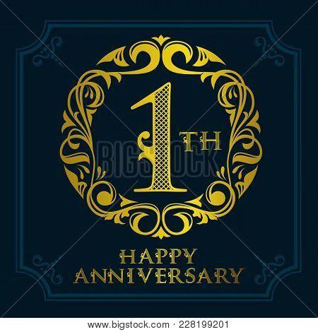 1th Anniversary Celebration Logo Symbol. Golden Circular Editable Emblem On Dark Blue