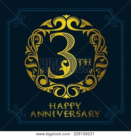 3th Anniversary Celebration Logo Symbol. Golden Circular Editable Emblem On Dark Blue
