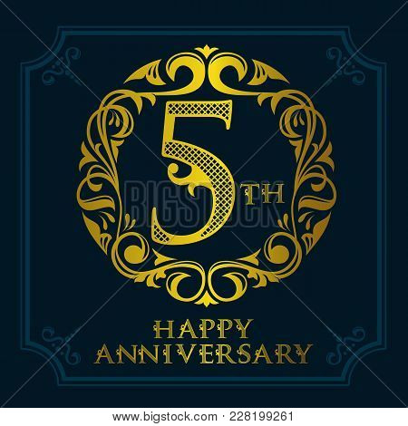 5th Anniversary Celebration Logo Symbol. Golden Circular Editable Emblem On Dark Blue