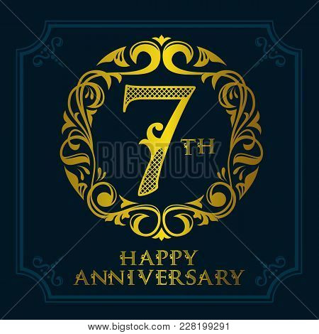7 Th Anniversary Celebration Logo Symbol. Golden Circular Editable Emblem On Dark Blue