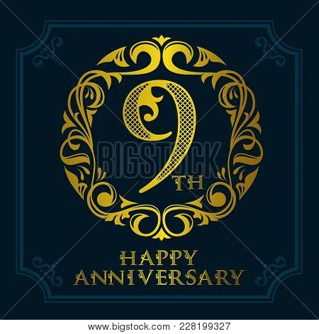 9th Anniversary Celebration Logo Symbol. Golden Circular Editable Emblem On Dark Blue.